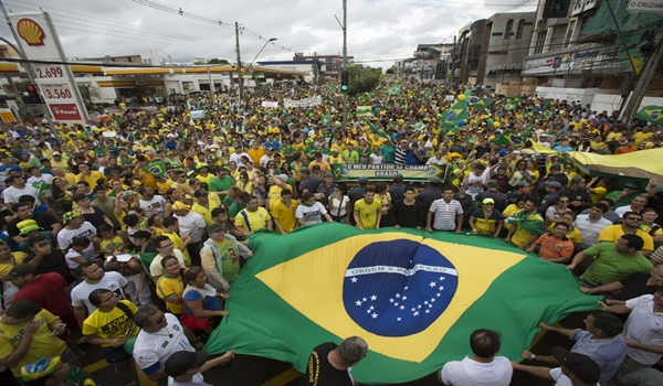 Demonstrators attend a protest against Brazil's President Dilma Rousseff in Manaus