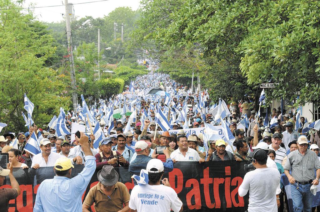 Marcha contra el canal en Juigalpa