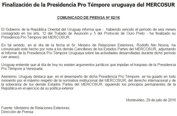 comunicado uruguay